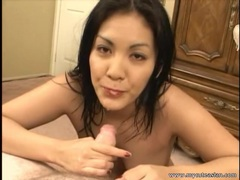 Asian babe jerks off his dick and gives a titjob movies at sgirls.net