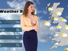 Naughty british weather girl lets her tits come out tubes