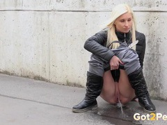 Beautiful blonde pisses on a public sidewalk videos