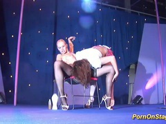 Hot lesbian sex show on public stage videos