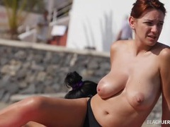 Big natural boobs redhead spied on at the beach movies