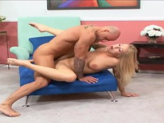 Blonde on a stool fucked hard from behind videos