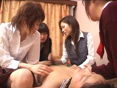 Japanese schoolgirls jerk him off together videos