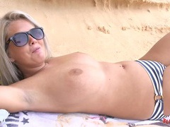 Striped bikini girl goes topless at the ocean videos