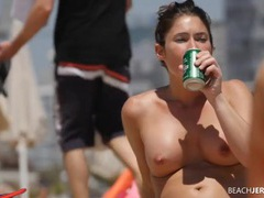 Round tits chick lotions up at the beach movies at find-best-panties.com