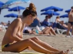 Yellow bikini bottoms on a topless beach honey videos