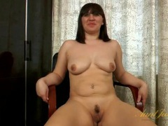 Curvy amateur milf strips during an interview videos