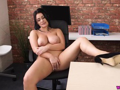 Curvy naked beauty in an office chair videos
