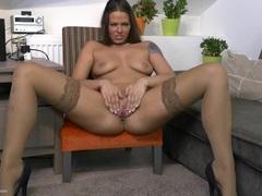 Leggy milf in tan stockings has fun with her cun videos