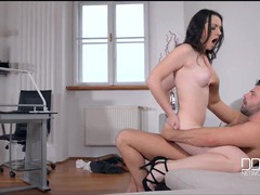 Milky white beauty with black hair fucks her man movies at kilotop.com