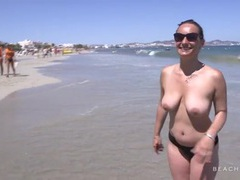 Amateur with nice tits chats on the beach videos