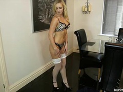 Sexy blonde nurse in leopard print lingerie movies at lingerie-mania.com