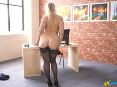 Curvaceous secretary in a stunning striptease videos