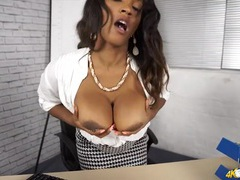 Black office hottie wants you to stare at her tits videos