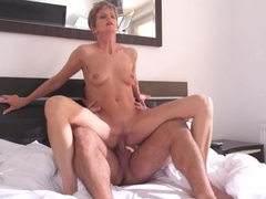 Skinny old lady rides a hard dick videos