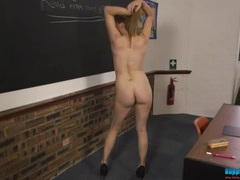 Cute schoolgirl has fun stripping in class movies at kilopics.net
