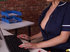 Nurse at work lets you look down her dress videos