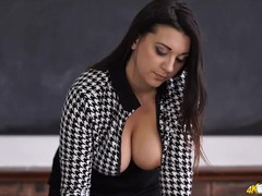 Teacher is a tasty tease with big natural tits tubes