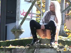 Leggings and boots babe pisses in public videos