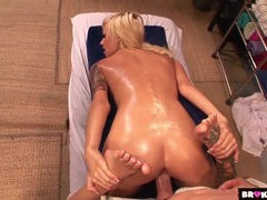 Girl oiled erotically and fucked by her masseur videos