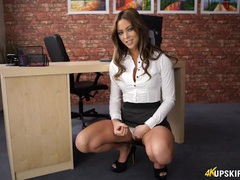 Gorgeous secretary wants you to jerk off to her movies at kilosex.com