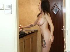 Bra and panties babe dancing in her bathroom movies at kilosex.com