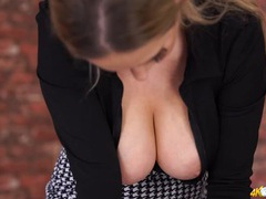 Secretary tits pop out of her blouse tubes