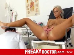 Naked blonde patient examined by her doctor videos