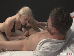 Blindfolded blonde in lingerie aroused by her man for hot sex movies at sgirls.net