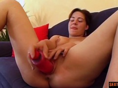Pink dildo pumps a pretty pink pussy in close up videos