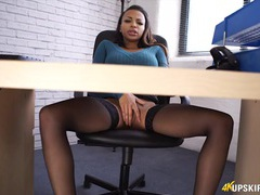 Black sweater babe masturbates under the desk videos