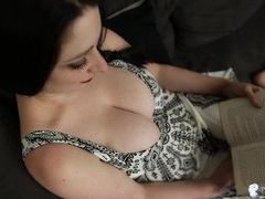 Gorgeous big natural tits spill out of her dress videos