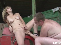 Milf on the farm sucks his soft cock erotically videos