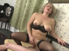 Moaning old lady cums on a cock in her snatch movies at lingerie-mania.com
