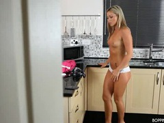 Beauty stripping and dancing as she cleans her kitchen movies at sgirls.net