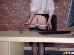 Secretary in a sheer blouse and hot stockings movies at kilovideos.com
