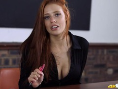Gorgeous redheaded teacher teases her cleavage videos