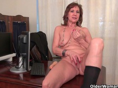 Office grannies amanda and penny strip off and play videos