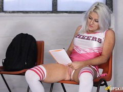 Cheerleader flashing her pussy at you in class videos