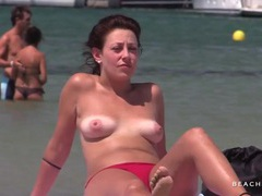 Amateur with tan lines goes topless on the beach tubes