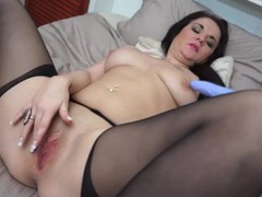 Sexy mom in black stockings masturbates tubes
