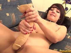 Teen pushing a big dildo into her shaved pussy movies at find-best-babes.com