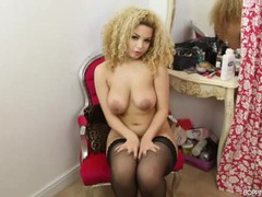 Curly hair british girl has incredible curves videos