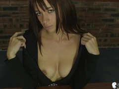 Beautiful british secretary opens her blouse to flash videos