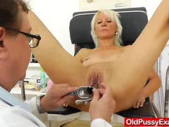 Blond dame gets a gyno test videos