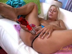 Toy buried deep in her wet milf pussy videos