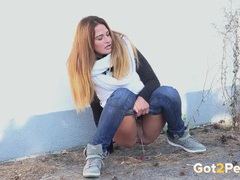 Cold fall day pissing with a cute brunette videos