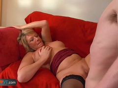Young guy with big dick fucks his new sexy mature landlady by agedlove movies at lingerie-mania.com