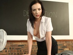 Strict teacher flashes her tits in detention tubes