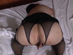 Bbw in crotchless panties exposes her fat cunt movies